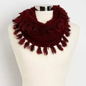 🆕️Maurices burgundy Pointelle Knit infinity Scarf